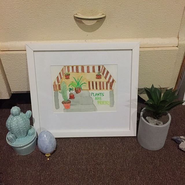 'Plants Are Friends' framed Artwork (by Me)