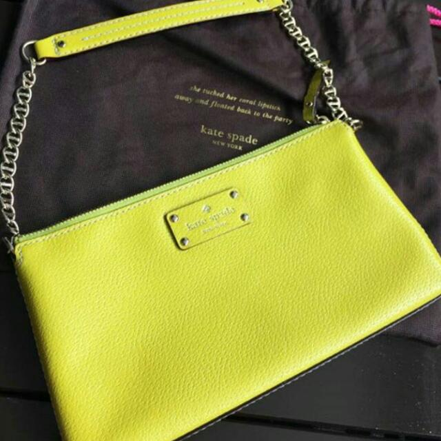 Preloved Authentic Kate Spade Leather Lime Yellow Shoulder Bag
