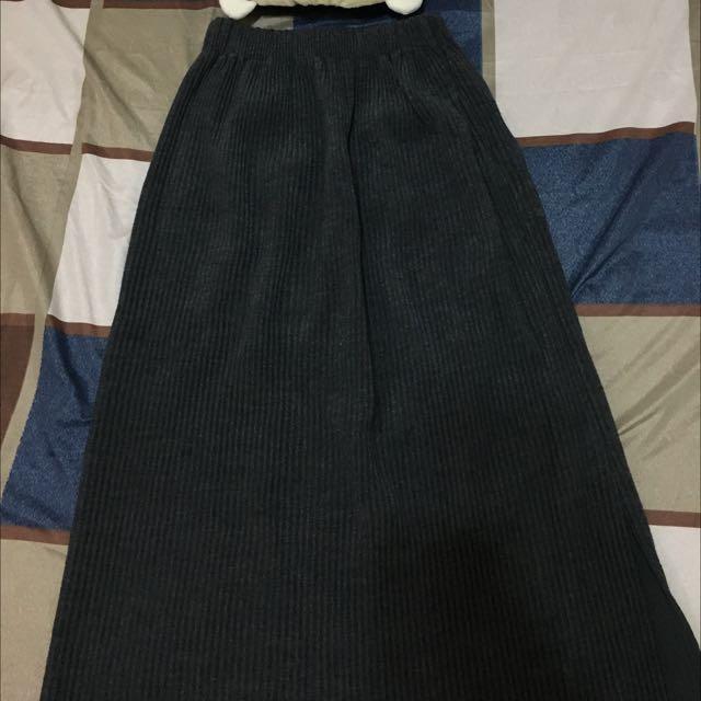 Queenshop👑坑條直筒後開衩針織裙