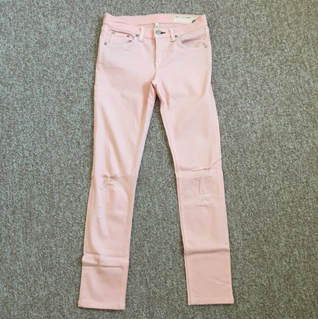 Rag and Bone Ripped Skinny Jeans In Pink (size 26)