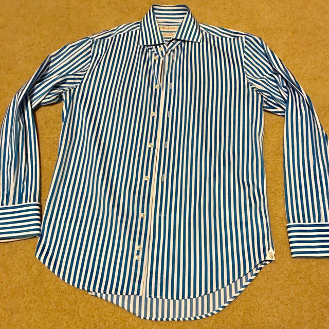 Rhodes and Beckett Shirt - 39 Slim R - Blue/White