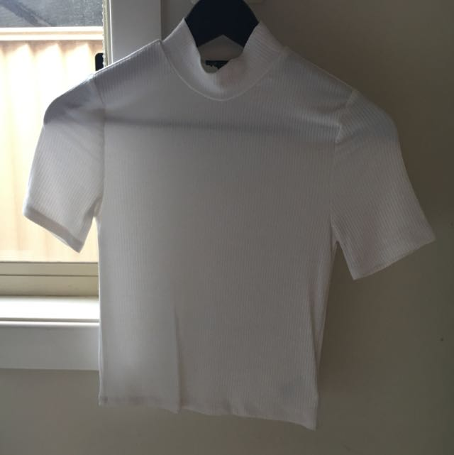 Ribbed White Crop Top