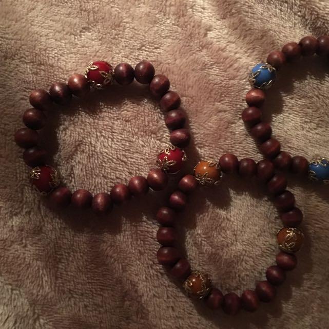 Set Of 3 Wooden Bracelets