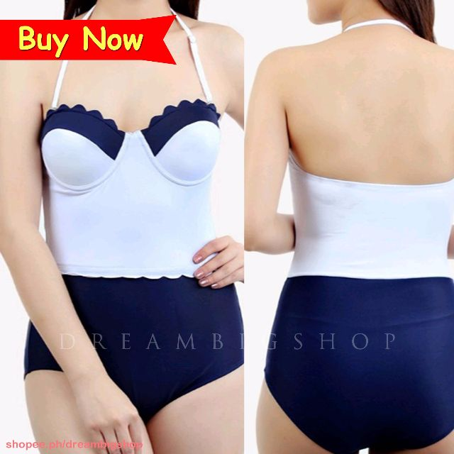 c17ab173280 Sexy Halter Classic Two Tone One Piece Swimsuit Swimwear on Carousell