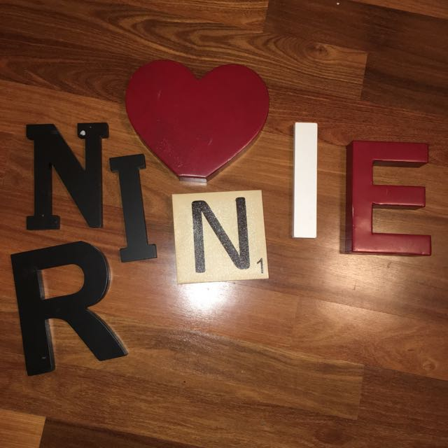 Typo letters wooden and red Metal Heart