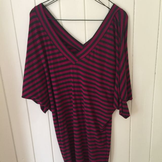 WAYNE COOPER V-Neck Plum/Grey Strip Dress (size 0)