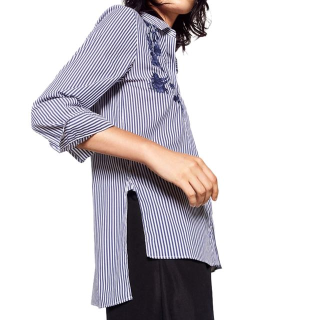 3ffab3e9 Zara Inspired Striped button down shirt w/ blue embroidery on Carousell