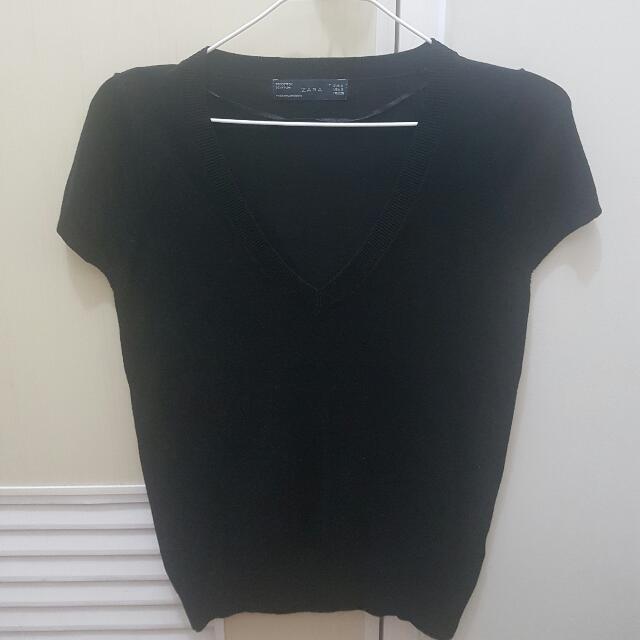 Zara Knitted V-Neck Top