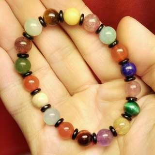 (編號Y22)高品質轉運多寶10mm. 手珠手鍊 ,參考水晶,晶洞,鈦晶,翡翠,紫鈦,虎眼,月光石