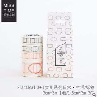 ■拾光misstime■ 手帳裝飾3+1入組系列 和紙膠帶