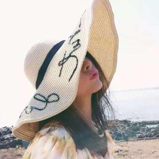 韓國時尚字母沙灘渡假大帽