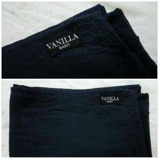 Preloved Pashmina Katun Vanilla Hijab Basic Dongker Navy Pasmina Cotton