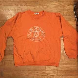 Vintage Orange Club Monaco Crewneck Sweatshirt Medium