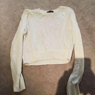 American Apparel white long sleeve croptop