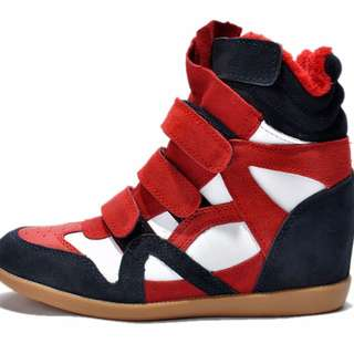 isabel sky high suede wedge sneakers white-red-blue description