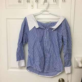 Korean Brand Wide Shoulder Striped Shirt