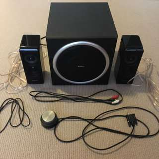 Edifier S330D Multimedia Speakers with subwoofer, Black + FREE audio ext cable