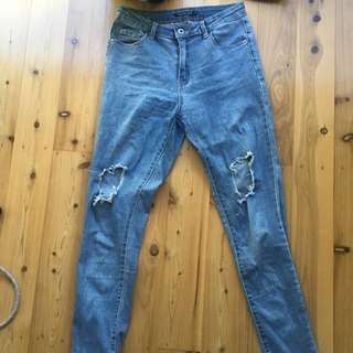 High Waisted Skinny Jeans, Size 10