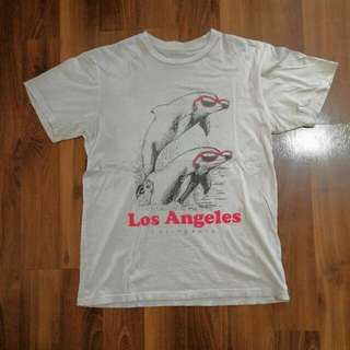 Vintage Tee, Los Angeles California, Dolphins wearing Sunglasses, White T-Shirt,