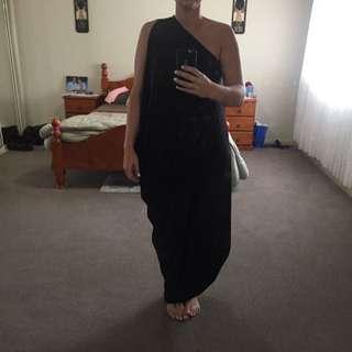 SpicySugar Black Greek Style One Shoulder Dress