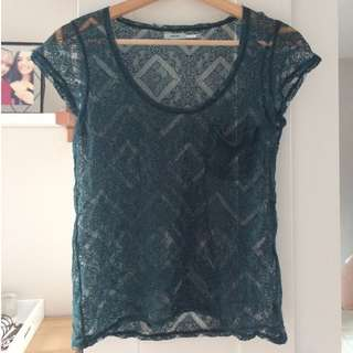 Kimchi Lace Tee in Emerald (Seen on Pretty Little Liars)