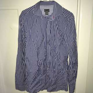 H&M Blue And White Checkered Button Up Shirt