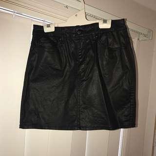 Lee Wet Look Denim Skirt