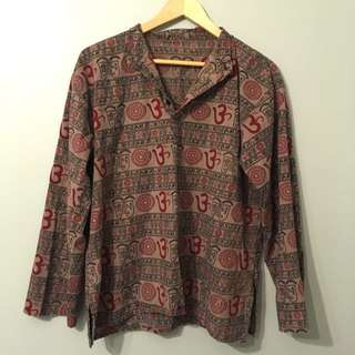 size M ohm symbol cotton flowy shirt