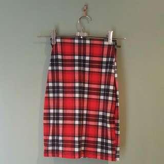 Tartan Red Skirt Size 6-8