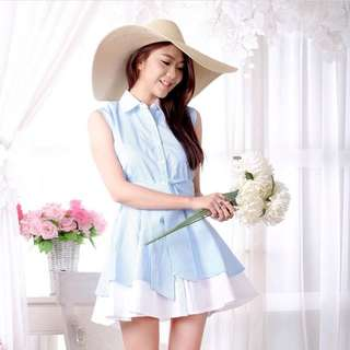 TLC Blue Striped Shirt Dress