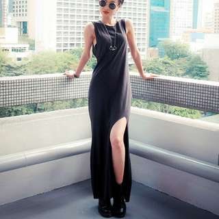 H&M Slit Tank Maxi Dress (Black)