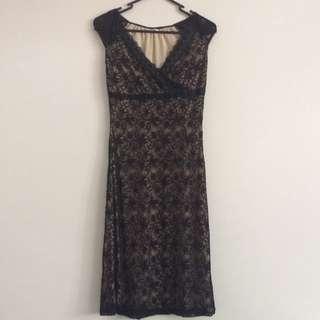 Vintage Black Lace 'Nude' Midi Dress