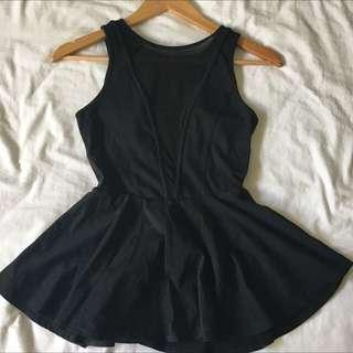 Black Peplum/mesh Top