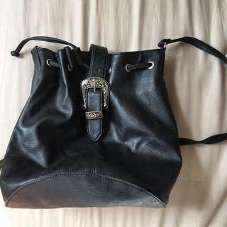 Neon Hart Black Bucket Bag