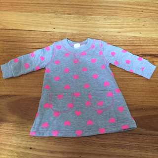 NEW Girl's Light Grey Dress with Pink Hearts (size 0)