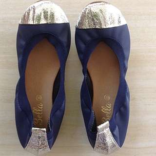Silver Capped Toe Ballet Flats