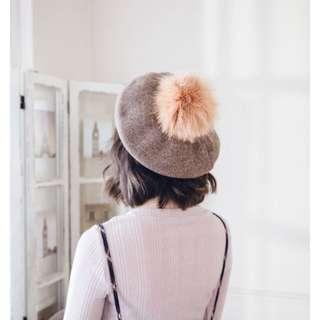 兔毛球畫家帽