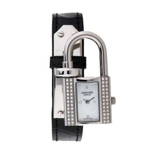 Hermes Diamond Kelly Lock Croco Watch