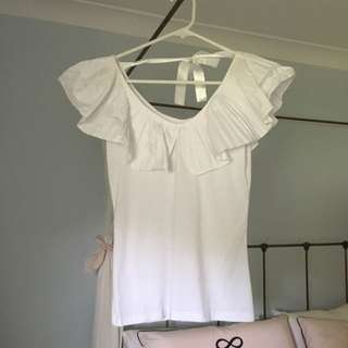 Cute White Frill Singlet With Bow