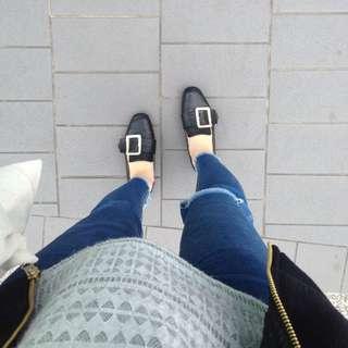 🔺韓國復古金釦黑皮鞋 懶人鞋 平底鞋