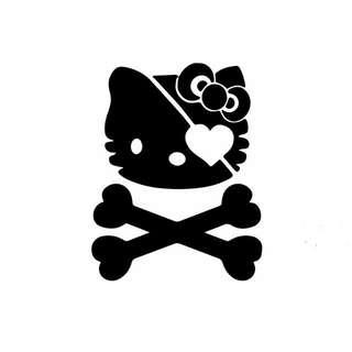 Hello Kitty Skull and Crossbones vinyl Decal Sticker