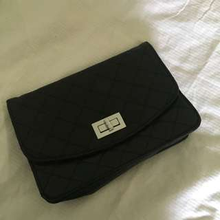 Quilted Black Clutch From Korea