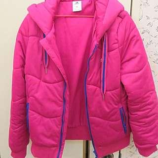Adidas 絕版桃紅色鋪棉外套M號