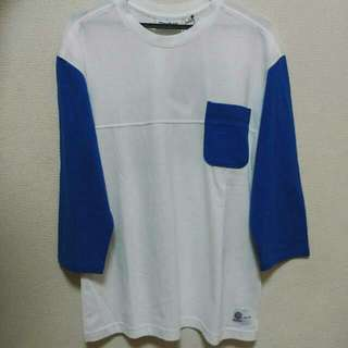 🚚 Reebok 七分袖T恤 (藍白)