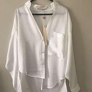 Shakuhachi Asymmetrical White Shirt