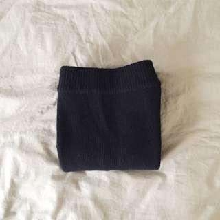 深藍 毛料 後開叉窄裙
