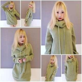 🚚 泰國古著設計款 草綠高質感 長版洋裝 長袖長版洋裝  寬鬆長版上衣