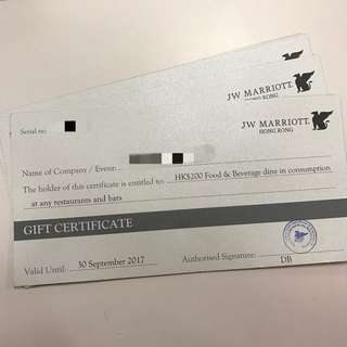 JW Marriott 萬豪酒店$200現金券
