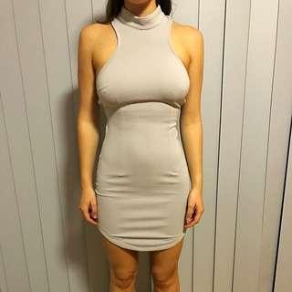 Cute Ribbed Grey Mini Cutout Dress