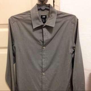 H&M Dark Blue/Grey Long Sleeves Shirt / Tee / Formal Wear - S Size